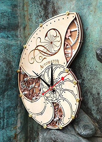 Automaton Nautilus Shell wooden steampunk handcrafted wall clock unique personalized custom made gift, nautical home… 5