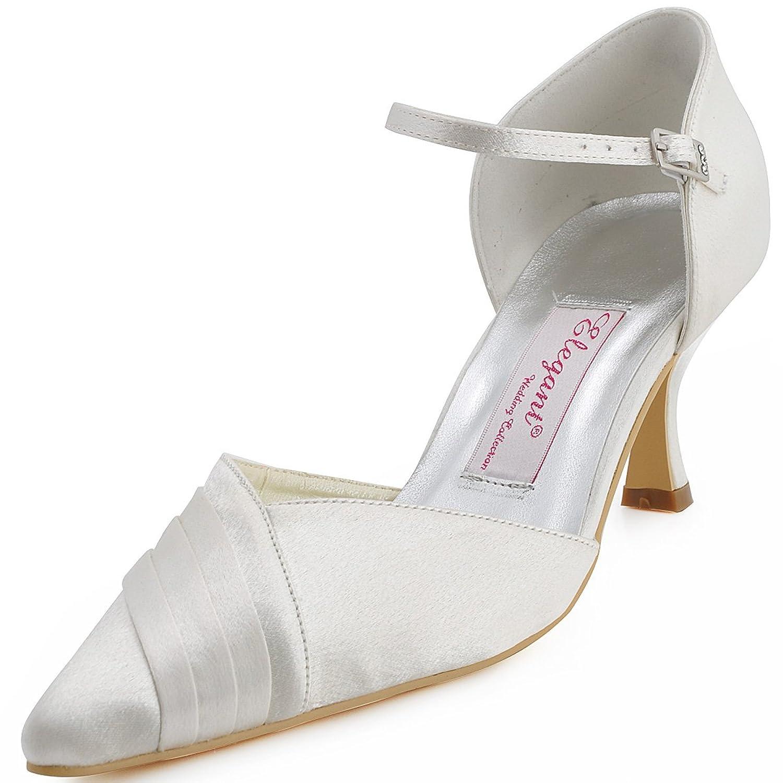 b7a7ce8c3755 Elegantpark EP11012 Women's Wedding Pointed Toe Stiletto High Heel Satin Bridal  Shoes well-wreapped