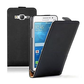Funda Carcasa Cuero PU Auténtico para Samsung Galaxy Grand Prime SM-G530F 4G) Value Edición SM-G531F - NEGRO