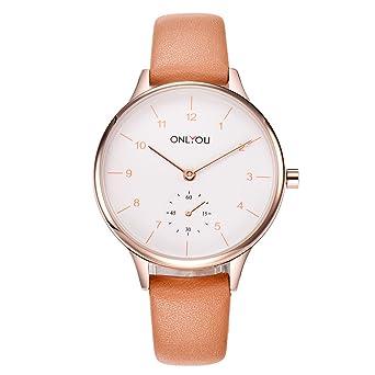 1e5512b09a Rockyu ブランド 人気 レディース 女性 時計 オシャレ 防水 サファイアガラス 海外ブランド ブラウン レディース腕時計