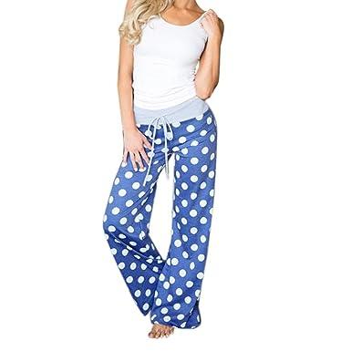 Yogogo Femme Ete Causal Yoga Jambe Large Pantalon Fluide Leger Longue  Pantalon avec Cordon 45185549df2