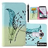 LG G4 Case, LG G4 Wallet Case, M-Zebra LG G4 Wallet Case [Wallet Function] Flip Cover Leather Case for LG G4, with Screen Protectors+Stylus+Cleaning Cloth (Colorful Feathers 1)