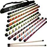 Flames N Games Twister Devil Stick Set With Wooden Hand Sticks & Travel Bag! (Black/Purple/Green)