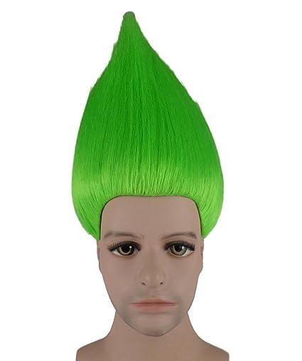 Trols película traje de Cosplay peluca verde neón anhm-076uk ...