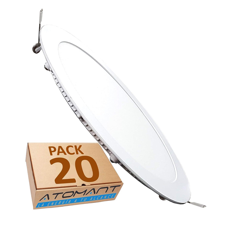 Blanco Calido , Pack 3x LA 1600 Lumenes reales 3000K Panel Downlight LED redondo plano 18W Driver incluido.
