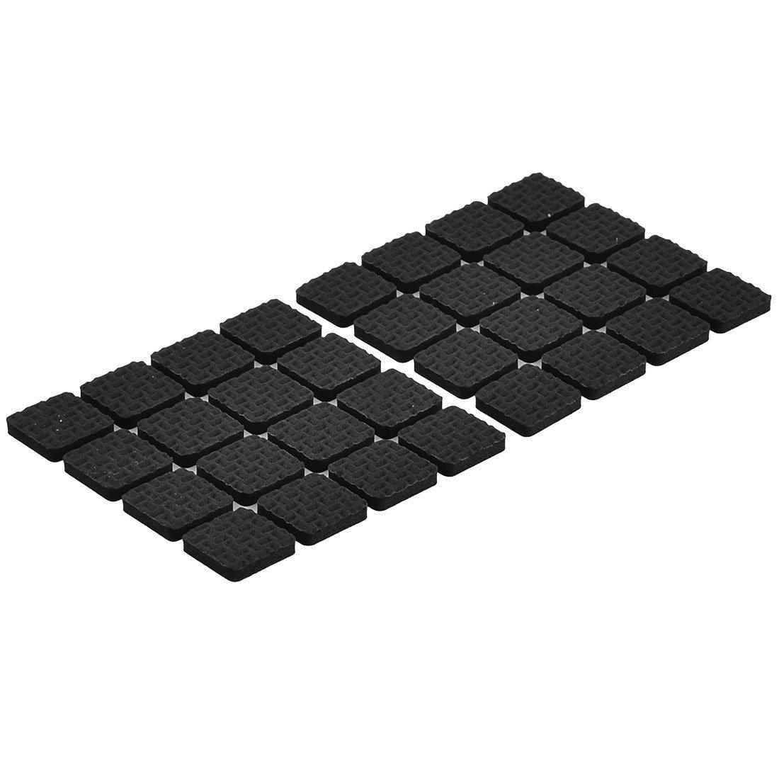 sourcingmap/® Furniture Rubber Square Feet Antiskid Adhesive Pad Floor Protector Black 64pcs