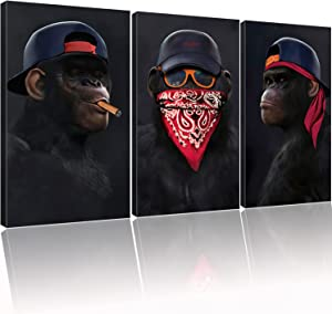 Funny Cool Monkey Gorilla Canvas Prints Animal Wall Art Framed Ready to Hang Ape Chimpanzee Abstract Modern Pop Painting for Home bar living room Bedroom Office Gym Decoration Decor 16inchx24inchx3pcs