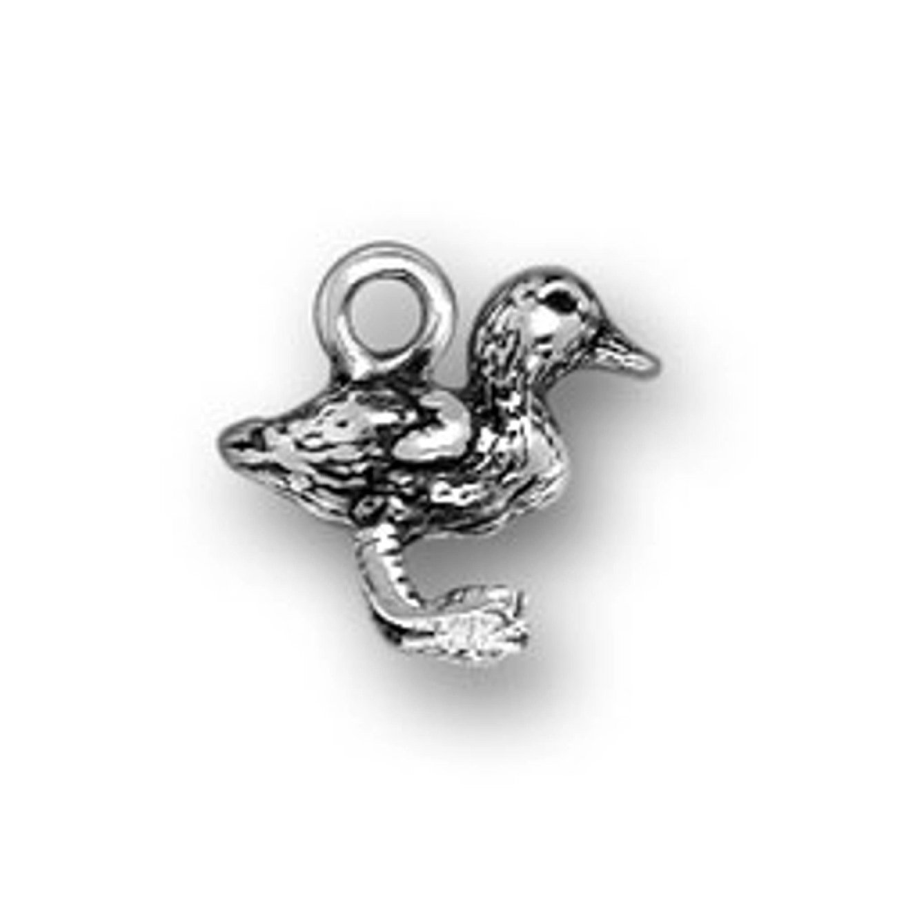 Sterling Silver 3D Small Standing Baby Duck Duckling Bird Charm