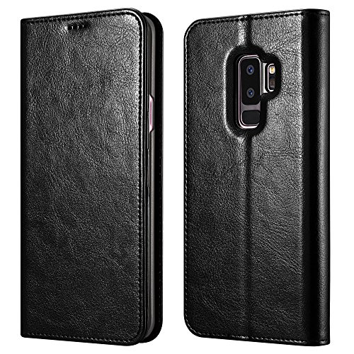 Galaxy S9 Plus Wallet Case, XOOMZ Vegan Leather Folio Flip Cover with Kickstand and Credit Card Slots for Samsung S9 Plus (2018) 6.2 Inch(Black)