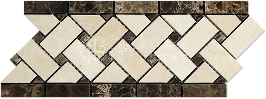 Crema Marfil Marble 1x2 Basketweave Mosaic Tile w//Emperador Dark Dots Polished