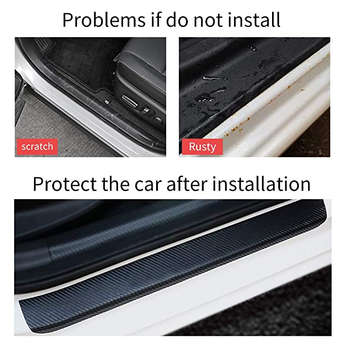 for Honda Accord Civic CR-V CR-Z FIT HR-V Odyssey Pilot Ridgeline Door Sill Protector Car Kick Plate Guard Entry Threshold Stickers Black 4Pcs Carbon Fiber Scuff Plate Covers