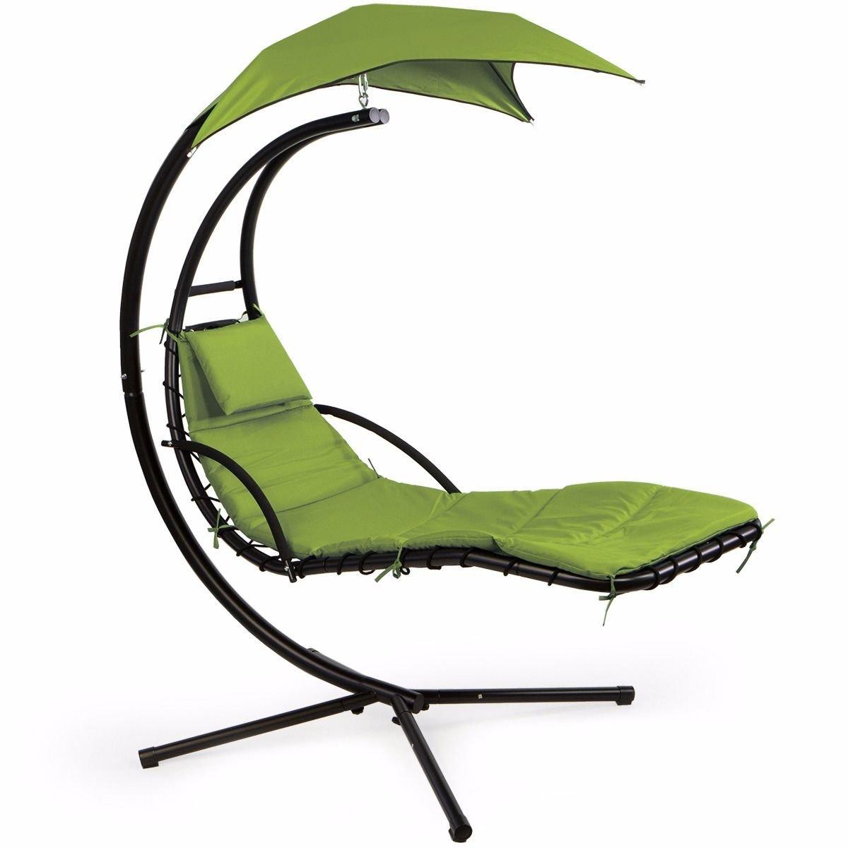 XtremepowerUS Floating Swing Chaise Lounge Chair Hammock Lounger Patio Lounge Seat Backyard w/Cushion- Green