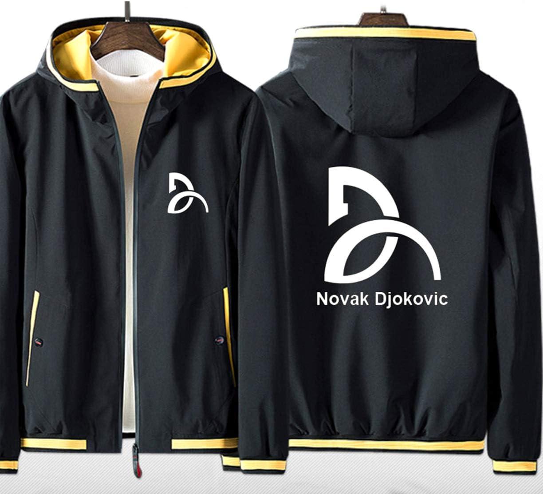FMBK666 Sudadera con Capucha Hombre Sweat Shirt con Cremallera Completa Tenis Grand Slam Novak Djokovic Chaqueta Moda Adolescente Manga Larga Cómodo Jersey Unisex (sin Camisa)