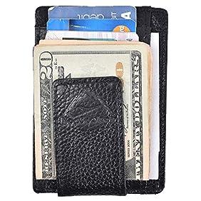 Hopsooken Money Clip RFID Front Pocket Wallet Men Leather Slim Minimalist Wallet