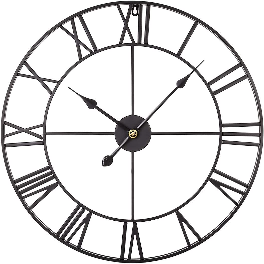 XSHION Large Decorative Wall Clock,24 Inch Retro Roman Numerals Metal Clock Silent Wall Clock Battery Operated Wall Clock for Office Living Room Decor - Black
