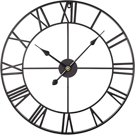 Ruiyif 24 Inch Metal Wall Clock Large Decorative Rustic Farmhouse Oversized Silent Non Ticking Battery Operated Kitchen Bedroom Living Room Wall Clock Large Decorative Black Amazon Ca Home Kitchen