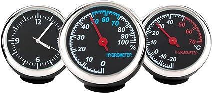 WINOMO Set de Reloj e Higrómetro y Termómetro de Coche Luminoso para Interior de Coche 3 Piezas: Amazon.es: Coche y moto