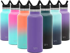 Simple Modern 17 Ounce Ascent Water Bottle with Straw Lid - Stainless Steel Hydro Thermos Tumbler - Double Wall Vacuum Insulated Small Reusable Metal Leakproof -Lilac