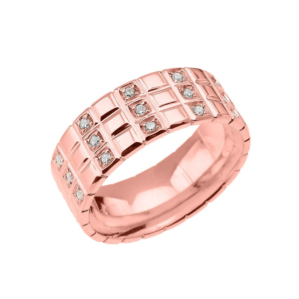 Men\'s 14k Rose Gold Diamond Checkerboard Men\'s Wedding Band Ring ...