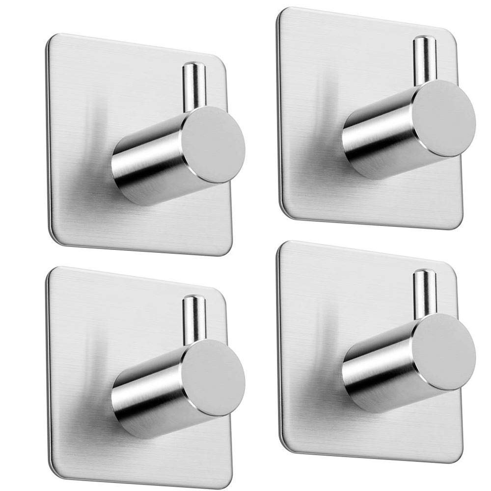 Warmdor Self Adhesive Hooks for Kitchen Bathrooms, 4.5 x 3 x 4.5cm Pack of 4