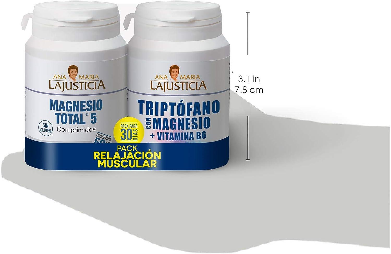 Pack RELAJACIÓN MUSCULAR - MAGNESIO TOTAL 5 - Disminuye el cansancio y la fatiga + Triptófano con magnesio + VIT B6 Reduce la ansiedad, el cansancio y regula el reloj interno.: Amazon.es: