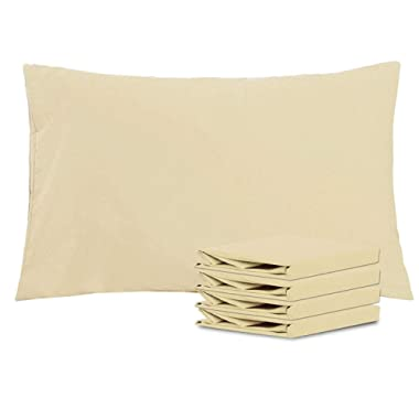 NTBAY Queen Pillowcases Set of 4, 100% Brushed Microfiber, Soft and Cozy, Wrinkle, Fade, Stain Resistant, Queen, Khaki