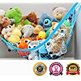 MiniOwls TOY STORAGE HAMMOCK XL Organizer in Blue (also comes in White & Pink) De-cluttering Solution & Inexpensive Idea for Every Room at Home or Facility - 3% is Donated to Breast Cancer Foundation…