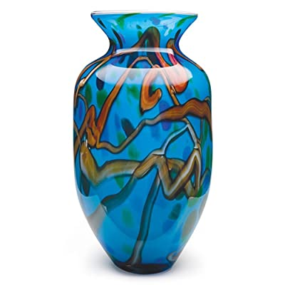 Handmade Glass Branches Vase - Blue - 16