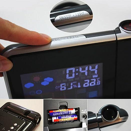 Ieasycan Digital clock LED Projector Projection Alarm Clock Weather Station Calendar home decoration