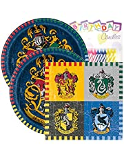 "Harry Potter Birthday Party Pack – Includes 7"" Paper Plates & Beverage Napkins Plus 24 Birthday Candles – Serves 16"