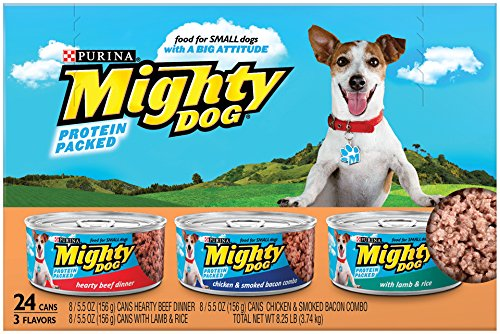 Purina Mighty Dog Wet Dog Food, 3 Flavor Variety Pack (Beef/Chicken, Bacon/Lamb), 5.5-Ounce Can, Pack of 24