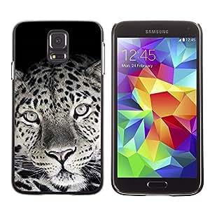 TopCaseStore / la caja del caucho duro de la cubierta de protección de la piel - Cute Lovely Leopard Fur Pattern Black White - Samsung Galaxy S5 SM-G900
