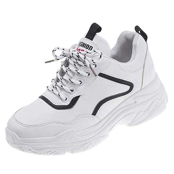 903ab37d8418 BaZhaHei Sneakers Donna Punta Rotonda Lace-Up,Eleganti Scarpe Sportive  Ragazza Casual Traspirante Soft