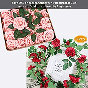 AmyHomie Pack of 50 Real Looking Artificial Roses w/Stem for DIY Wedding Bouquets Centerpieces Arrangements Party Baby Shower Home Decorations 2