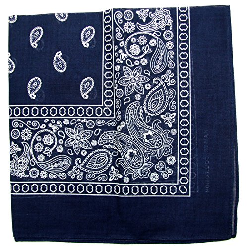 Paisley One Dozen Cowboy Bandanas (Navy Blue, 22 X 22 in)