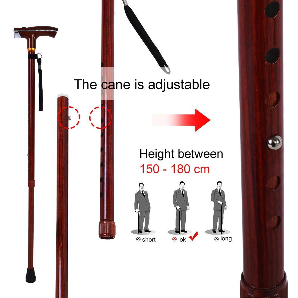 Adjustable Canes and Walking Sticks Multi-Function Telescopic Walking Cane with Light Aluminium Alloy Quad Tip Cane for Men and Women (Rosewood Color)