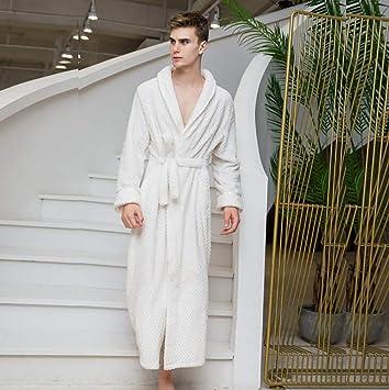 SHANGXIAN Largo Bata Baño Homewear Vestido Mujeres/Hombres Albornoz Franela Camisón Calentar Batas De Baño,White(Male),L: Amazon.es: Hogar