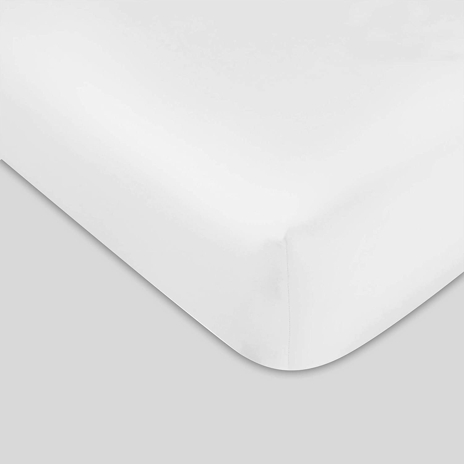 """300 TC GOTS Certified 100% Organic Cotton Queen Sateen Weave Fitted Sheet - Fits Mattress Up to 16"""" Deep Pocket - Supremely Soft & Shiny Close to Nature Biodegradable Sheet - White - Queen Fitted"""