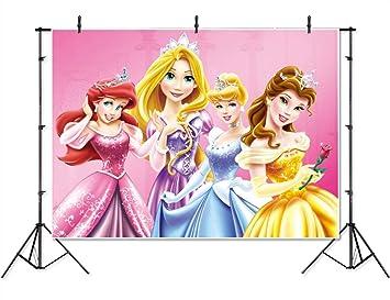 Amazon.com: Vinilo Disney Princesa fondo 7x5 rosa bebé ducha ...