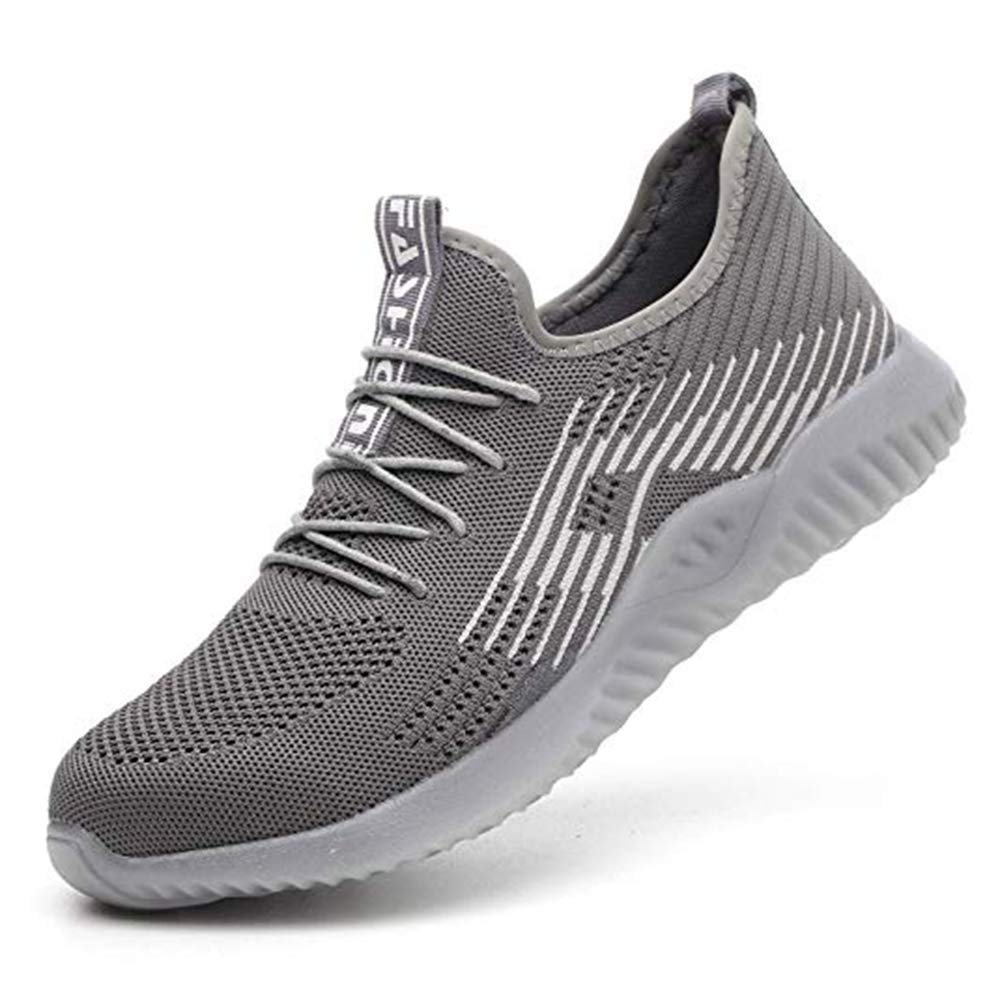KINGLEN Work Safety Shoes for Men Women, Steel Toe Shoes Lightweight Breathable Toe Casual Sneakers Industrial Construction Hiking Trail for Working Shoes (10.5-11 Men, Gray)