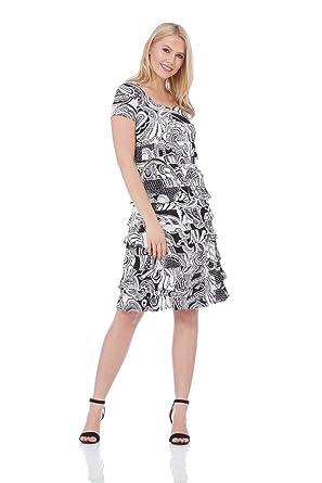 16f2530a967d Roman Originals Women Monochrome Paisley Print Frill Dress - Ladies Round Neck  Knee Length Stretchy Jersey Occasion Dresses Black  Amazon.co.uk  Clothing