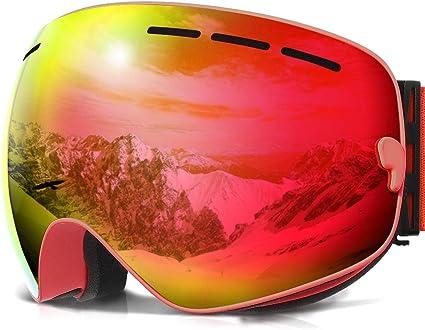 Amazon Com Copozz Ski Goggles G1 Mens Womens Ski Snowboard Snowboarding Goggles Over Glasses Double Lens Anti Fog Frameless Cool Revo Mirror Red For Men Women Youth Snowmobile Skiing Sports