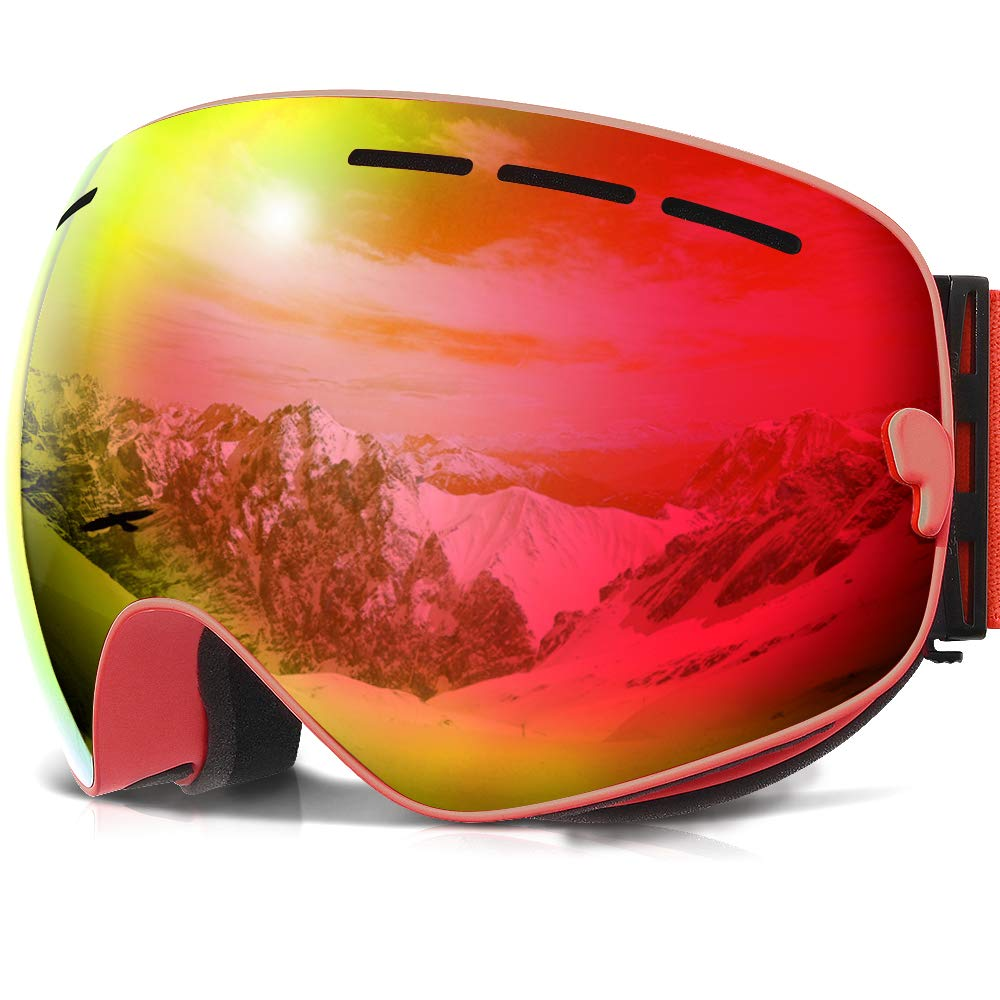 COPOZZ Ski Goggles, G1 Mens Womens Ski Snowboard Snowboarding Goggles - Over Glasses Double Lens Anti Fog Frameless,Cool REVO Mirror Red for Men Women Youth Snowmobile Skiing by COPOZZ