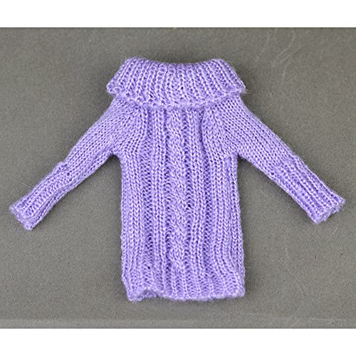 PinShang Doll Clothing 30cm Fashion Knitted Handmade Sweater Clothing for Barbie Dolls Violet