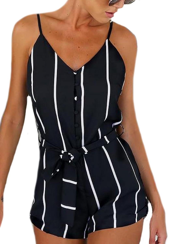 ARRIVE GUIDE Women's V-neck Stripe Chiffon Belt Tank Short Jumpsuits