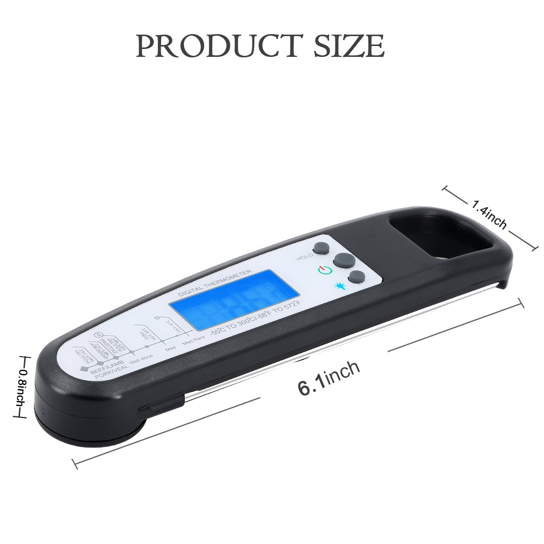 Termómetro de cocina USCVIS Digital inalámbrico de humo de carne termómetro de carne Termómetro de comida instantánea exacta para el azúcar Jam de agua de ...