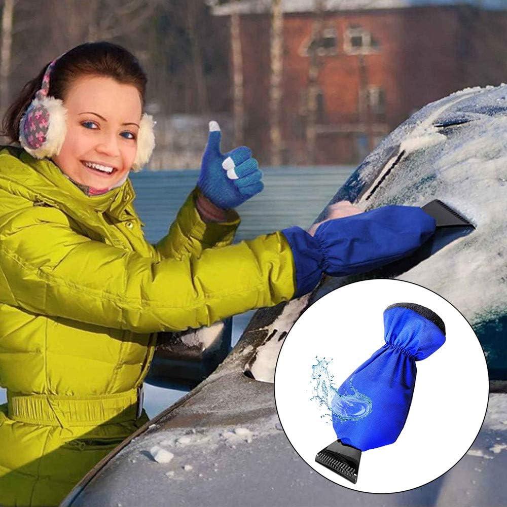 Highpot Snow Ice Scraper Mitt for Car Windshield Snow Scrapers with Waterproof Glove Lined Thick Fleece Snow Shovel Tool Black