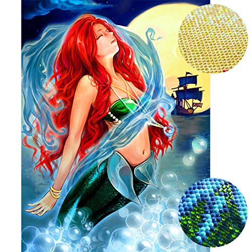 Staroar Clearance 5D Diamond Painting Kits for Adults for Adult Round with AB and Crystal Rhinestone Full Drill - Mermaid 34X45CM Art Craft Diamond Art
