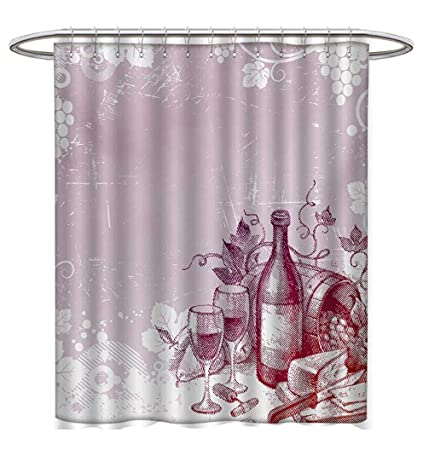 Anhuthree Wine Shower Curtains Fabric Extra Long Tasty On Wooden Barrel Grape Plantation Countryside