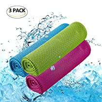 E-Tree [3 Pack] Microfiber Cooling Towel (40x12) with an Instant Cooling Relief, Quick Dry Towel, Stay Cool Towel, Sport Towel, Absorbent Towels, Ice Cold Towel for Sports, Workout, Fitness, Gym, Yoga, Pilates, Travel, Hiking, Camping, Physical Treatment & More [Blue GreenRed]